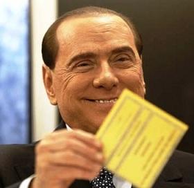 Berlusconi con la scheda elettorale