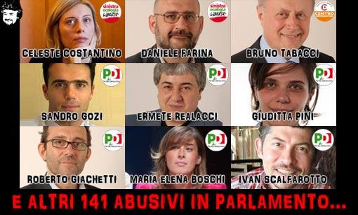 150 deputati abusivi eletti col premio di maggioranza