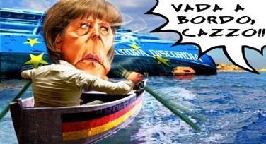 vignetta-Merkel scappa come Schettino dall'Europa