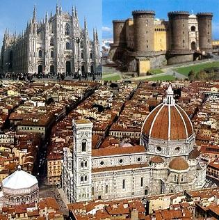 duomo di milano-maschio angioino-cupola di Brunelleschi