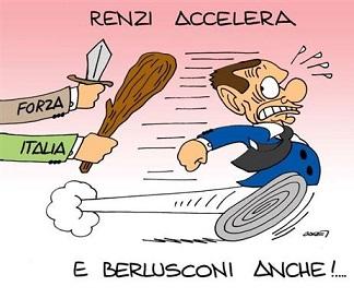 vignetta-header-renzi accellare e Berlusconi scappa inseguito da Forza Italia