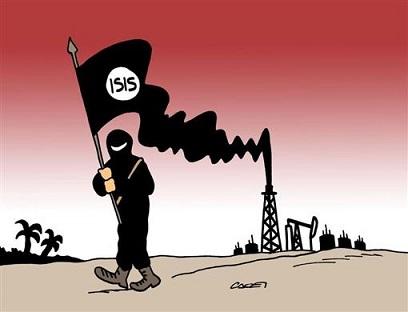 header-vignetta-Isis bandiera nera fumante dal pozzo di petrolio