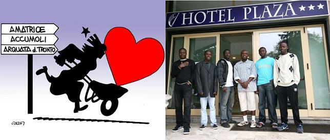 vignetta-Italia corre in albergo immigrati con la carriola